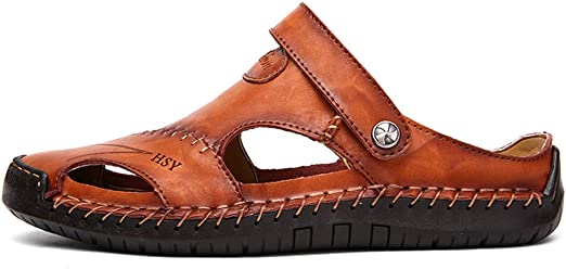 Unbekannt Boys Sandals Outdoor Leather Fisherman Summer Casual Flat Beach Walking Shoes