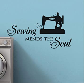 Dalxsh Sewing Mends The Soul Tatuajes de pared Costurera Cita ...