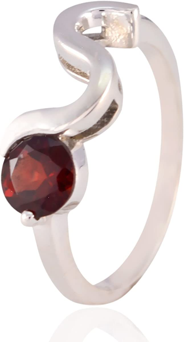 Solid Silver Red Garnet Genuine Gems Ring Genuine Gems Round Faceted Garnet Ring Home /& Living Good Selling Shops Gift for Christmas Day Statement Jewelry
