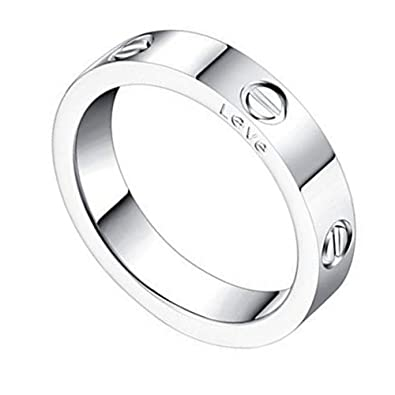 302647ec1aff Amazon.com  Qindishijia 4mm Silver Love Ring-Lifetime Just Love You ...