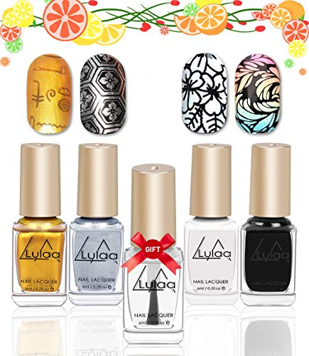 DRMODE Stamping Nail Polish - 4 Bottles Solid Color Nail Art Polish and Free Fast Drying Top Coat, Nail Art Stamp Polish Pigmented Lacquer Gold Silver Black White (Best Nail Polish For Stamping)