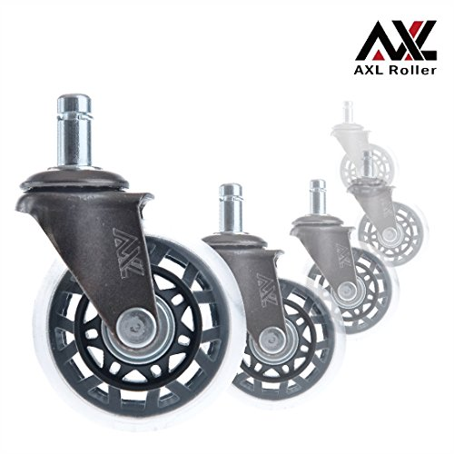 - AXL Office 2.5 Inch Rollerblade Style Office Chair Caster Wheel Replacement, For IKEA Office Chair, Safe For Hard Wood Floors - Nickel black (7Star-Shaped, Set of 5)