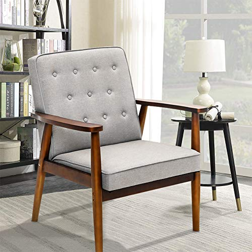 Superday Mid-Century Modern Accent Chair Upholstered Wooden Lounge Arm Chair Fabric Single Sofa for Living Room,Gray