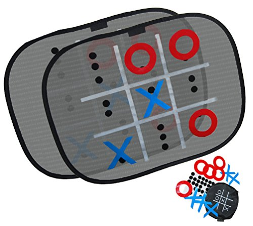 Tic Tac Toe Window Shield Game – Car Sun Shade, Easily attaches to window, Provides UV Protection + Board game Kit For the whole family