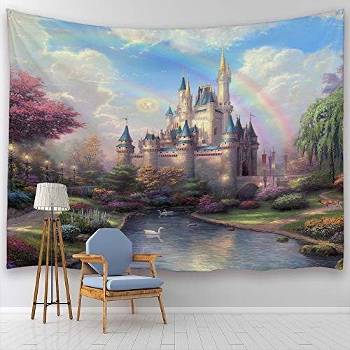 (Baccessor Fantasy Castle Tapestry Colorful Rainbow Forest Princess Lake White Swan Fairy Tale World Wall Hanging Tapestry for Girls' Bedroom, 90