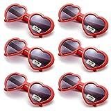 Oaonnea 6 Pack Neon Colors Party Favor Supplies Heart Shape Sunglasses (red)