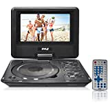 "Pyle Portable DVD CD Player - 7"" High Resolution TFT Swivel Angle Foldable Display Screen Built-in Rechargeable Battery USB/SD Card Readers 32GB Memory & Multimedia Support w/ Remote Control - PDH7"