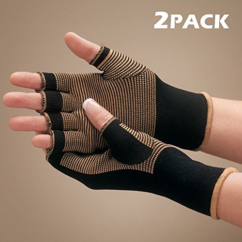Copper Bamboo Compression Therapeutic Arthritis Pain Relief Support Gloves - Improve Mobility, Ease Joint Pain, Comfort and Soothing Joints (2 pack) by YHealth