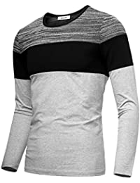 Men's Contrast Color Crew Neck Long Sleeve Casual T-shirt Top