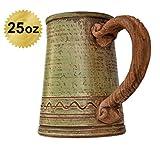 Handmade Ceramic Beer Mug Clay Cup with Handle 25oz Multicolor Natural Earthenware Eco Friendly Tea Coffee Lead Free Pottery Handcrafted Green Semin Mug