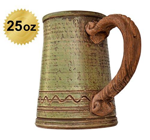 MyFancyCraft Handmade Beer - Mug - Ceramic Clay Natural - Eco-Friendly Tankard 0.6 liters - 25oz Green (Ceramic Tankard)
