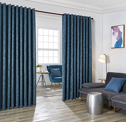Evelyn - Wall-To-Wall Extra Wide Embossed Blackout Grommet Curtain Panels With 2 Rope Tiebacks - Ideal for Window Decor or Room Divider (2 panels 108