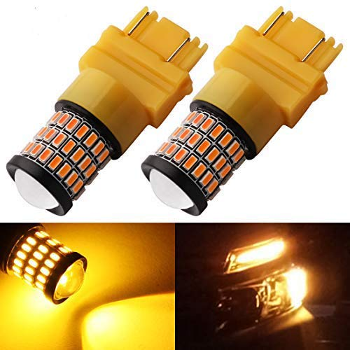Yorkim 3157 LED Brake Lights, Super Bright 3157 Amber LED Bulb, 3157 LED Backup Reverse Lights, 3156 LED Tail Lights, Turn Signal Bulb with Projector - 3056 3156 3057 3157 4157 LED Bulbs, Pack of 2