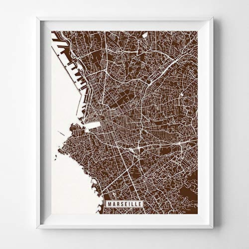 Marseille France City Street Map Wall Art Home Decor Poster Urban City Hometown Road Print - 70 Color Choices - -