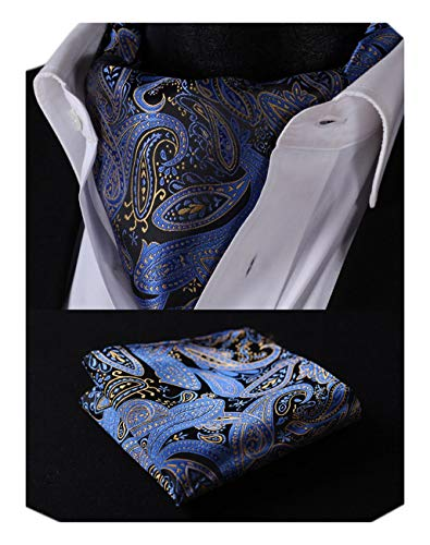 Ascot Tie - SetSense Men's Paisley Jacquard Woven Self Cravat Tie Ascot Set One Size Blue/Yellow/Black