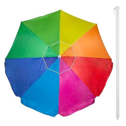 Aktive 62110 - Sombrilla 240 cm protección UV50 Beach - Multicolor ...