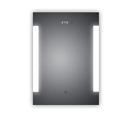 Espejo de baño led iluminado, con reloj digital integrado, Augsburg, 50 x