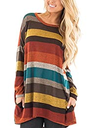 Women's Striped Long Sleeve Top Blouse Round Neck Long...