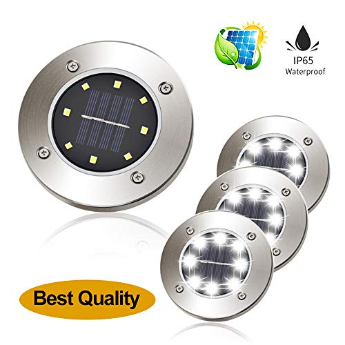 one into 2018 Solar Ground Lights Garden Pathway Outdoor in-Ground Lights Disk Lights LED Outdoor Lighting As Seen On TV Pack 4 (White) by one into