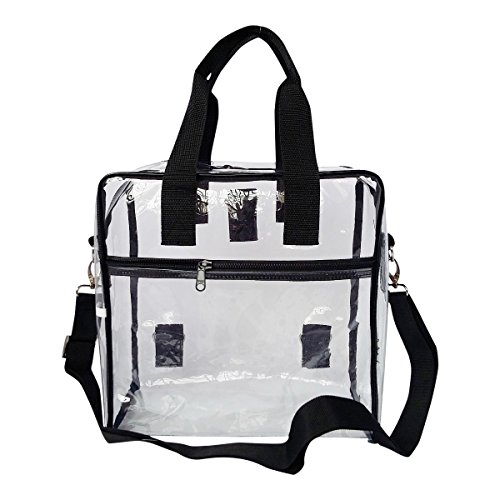 Clear Tote Bag PGA NFL Approved Stadium Heavy Duty Zipper Bag For Less Than And Under $20 With Handles For Football Games, Clear Security Bag for Work or Travel - 12 X 12 X 6 - Black Nfl Bag Tote Backpack