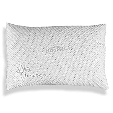 Hypoallergenic Bamboo Pillow - Shredded Memory Foam Dust Mite Resistant SLEEP THROUGH THE ENTIRE NIGHT (Queen)