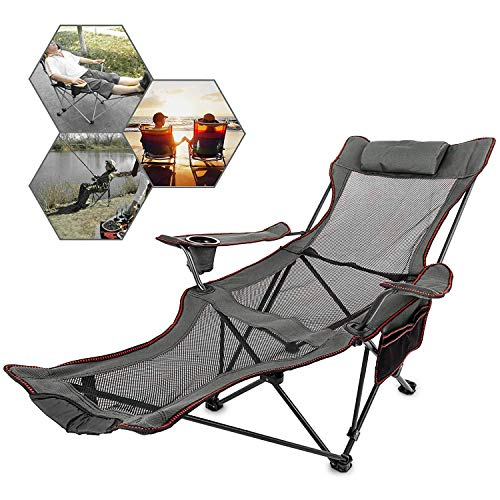 (FMC Camping Chair with Foot Rest with Cup Holder and Storage Bag Folding Reclining Camping Chair with Foot Rest for Camping Fishing and Other Outdoor Activities (Gray))