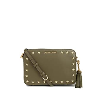 ed1873939ae6 Image Unavailable. Image not available for. Color  Michael Kors Ginny Stars Olive  Green Crossbody Women S Bag ...