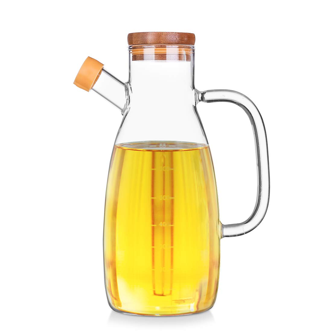 Goodeserve No Drip Glass Oil & Vinegar Dispenser Bottle with Wooden Lid, Cruet Jug with Scale, 700ML GD18122