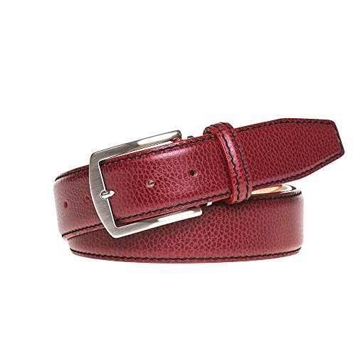 Red Italian Pebble Leather Belt by Roger Ximenez: Bespoke Maker of Fine Leather Goods