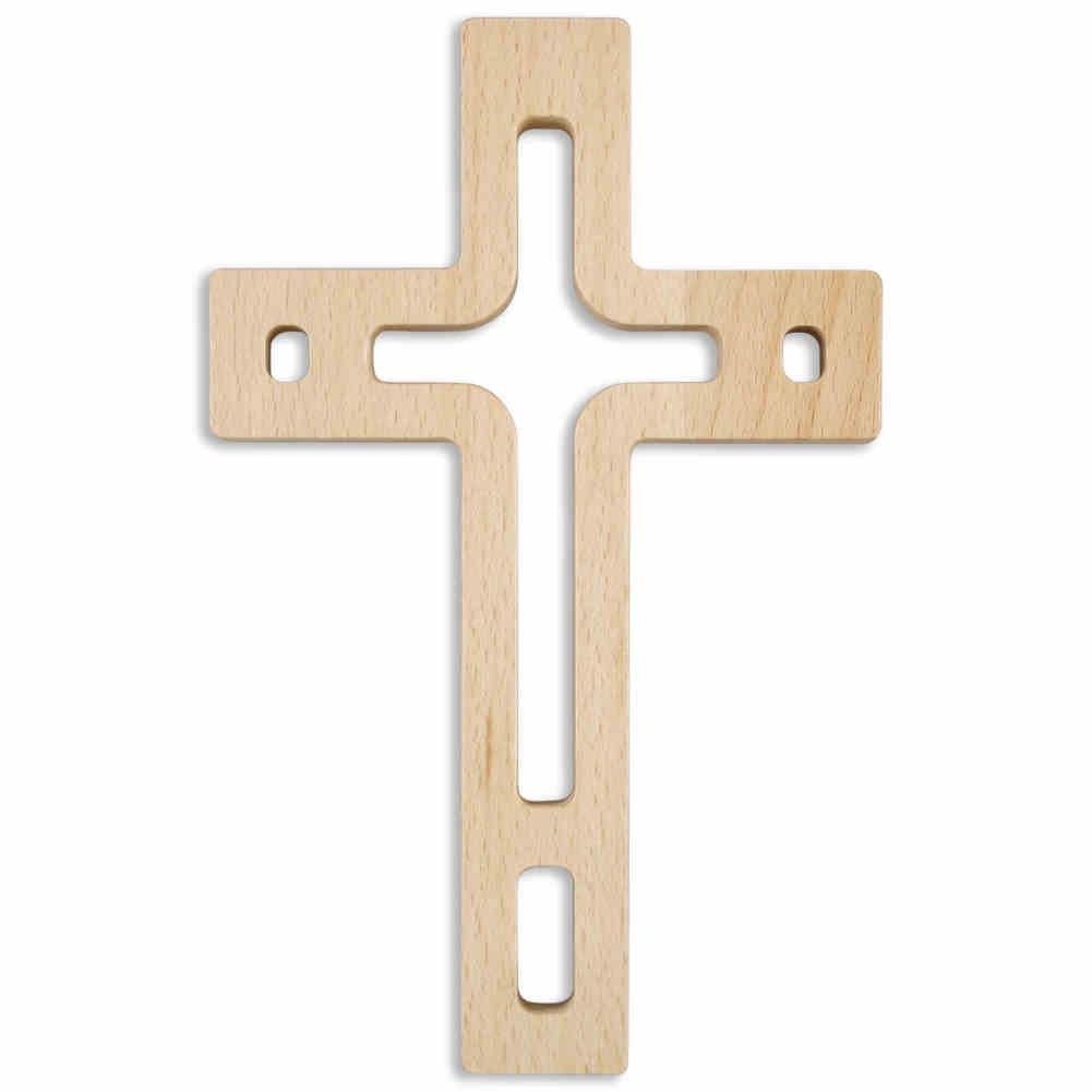 kruzifix24 Devotionalien Croce Croce in legno da parete moderno design a giorno laccato naturale 18x 11, 5x 1, 4cm gioielli a forma di croce per la parete Devotionalien Augsburg