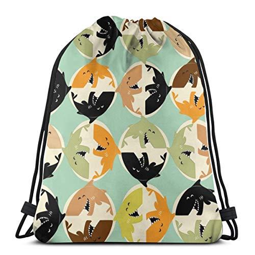 - Roundabout_shark_45627 3D Print Drawstring Backpack Rucksack Shoulder Bags Gym Bag for Adult 16.9