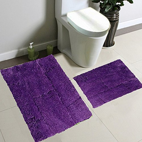 2pc Fancy Collection Bath Set Solid Purple Super Soft New