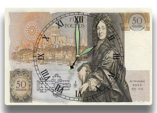 Sir Christopher Wren Customized Money Clock British 50 Pound Sterling Banknote Series 1981 8 x 12 inch wall clock ()