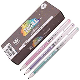 Sakura Xpgb 12-piece Gelly Roll Assorted Colors Stardust Galaxy Pen Gel Ink Bold Sparkling, Bagged Pen Set of Assorted Colors
