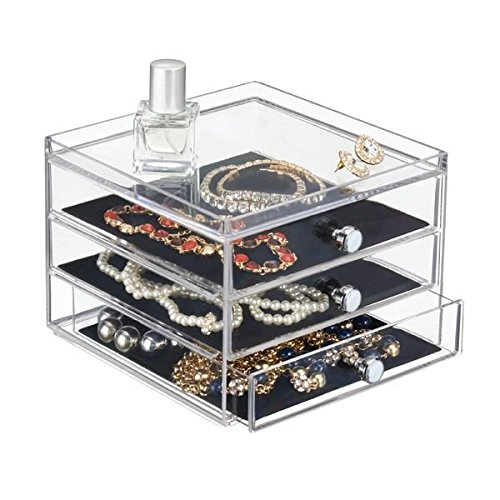 Fashion Jewelry Box Boxes - mDesign Fashion Jewelry Organizer Box for Rings, Earrings, Bracelets, Necklaces, Eyeglasses, Sunglasses - 3 Slim Drawers, Clear/Black