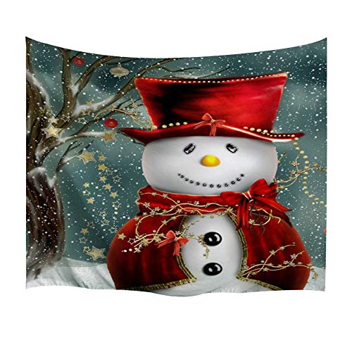 BEWAVE Christmas Decorations Wall Hanging, 3D Xmas Printed Polyester Fabric Holiday Wall Tapestry Art Valentine's Day for Living Room, Home, Bedroom Mural (51x60Inches, Snowman)
