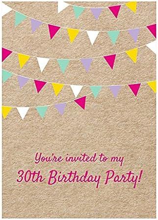 Vintage banderines para fiesta cumpleaños Invitaciones – Pack de 10 – 18th, 21, 30th, 40th, 50th, General (no Edad), crema, 30th: Amazon.es: Hogar