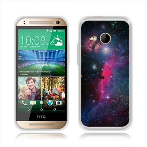 HTC One M8 Mini One Remix 2 Case, Fincibo (TM) TPU Silicone Protector Cover Soft Gel Skin, Pink Veil Nebula With Blue Galaxy
