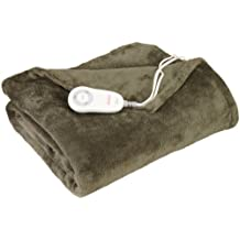 Sunbeam TSM8US-R608-25B00 Microplush Heated Throw, Olive