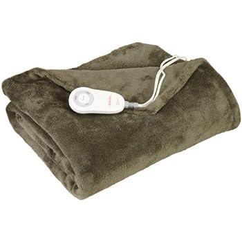 Sunbeam Heated Throw Blanket | Microplush, 3 Heat Settings, Olive - TSM8TS-R608-25B00