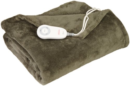 Sunbeam Heated Throw Blanket | Microplush, 3 Heat Settings, Olive