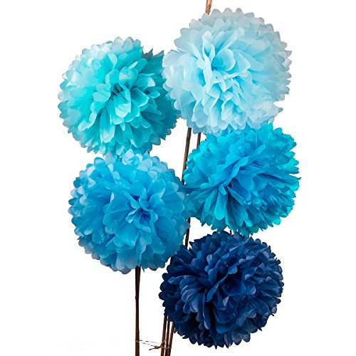 Luna Bazaar Tissue Paper Pom Poms (15-Inch, Multicolor Blues, Set of 5) - for Baby Showers, Nurseries, and Parties - Hanging Paper Flower Decorations