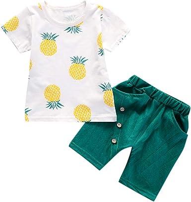 Kids Baby Girls Summer Pineapple Rompers Flare Sleeve Bodysuit Jumpsuit+Hat New