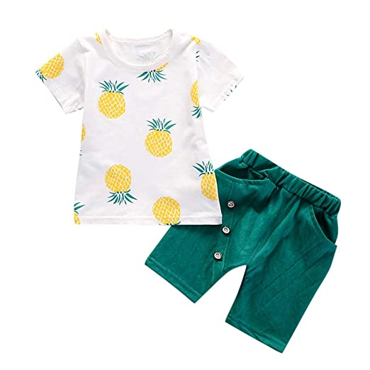 9a57fa4945 Summer Sale!! Kids Suits - Toddler Baby Boys Pineapple Print Short Sleeve T-