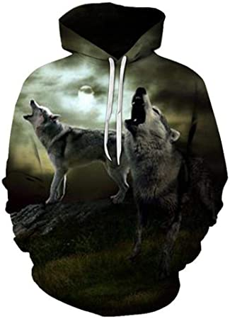 zysymx Harajuku Wolf Sweat à Capuche Hoodies Hommes Femmes