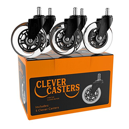 Caster Chair Wheels Office Replacement Set Of 5 Universal Fit Rollerblade Style 3 Inch by Clever Casters | No Floor Mat Heavy Duty Protection for Hardwood Tile Vinyl Carpet