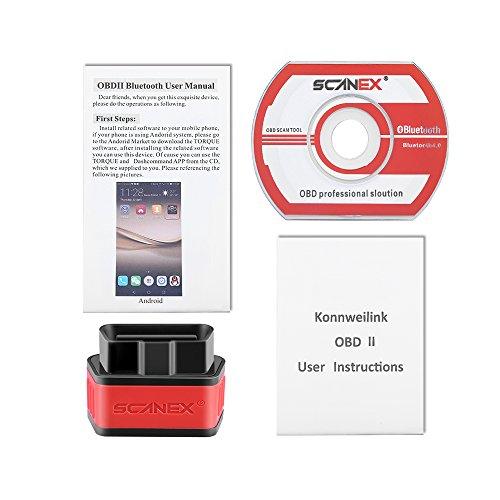 Bluetooth OBD2 OBDII Car Scanner, ScanEx Bluetooth Car Diagnostic