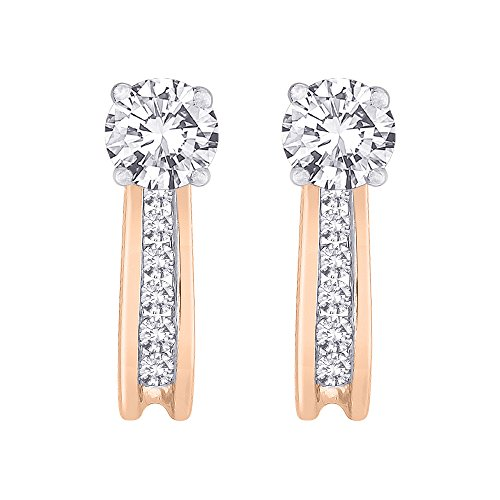Diamond Earring Jackets in 14K Rose Gold (1/4 cttw) (Color GH, Clarity I1) by KATARINA