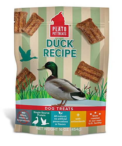 Plato Dog Treats - Natural Duck Flavor- Chewy And Delicious, Joint And Heart Healthy, Training Pet Treats, All-Natural, Non-Gmo, No Artificial Flavors, Or Preservatives, Made In The Usa, 16 Oz