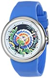 PeaceLove Unisex F36S-PLFBL-BL  Round Stainless Steel Blue Silicone Strap and ''Zotos'' Art Dial Watch